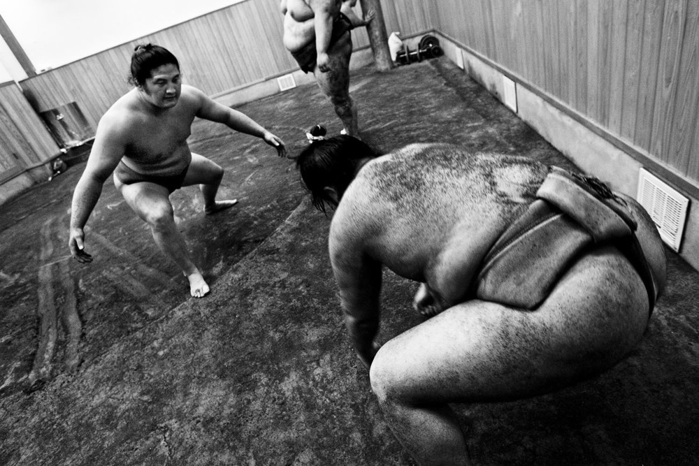 Sumo training at a stable in Japan, April 2009.