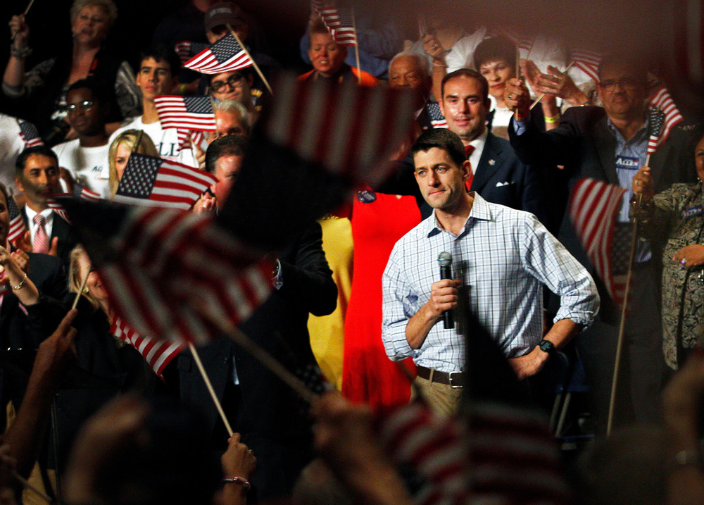 9/18/12 -- Republican vice presidential candidate Paul Ryan speaks to supporters at a campaign rally in the Ferguson Center for the Arts at Christopher Newport University.