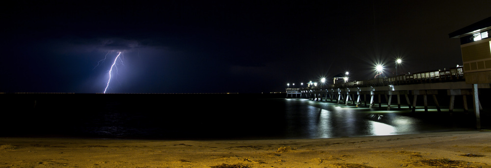 6/30/12 -- Lightning strikes over the Chesapeake Bay Bridge Tunnel during a late-night summer thunderstorm.