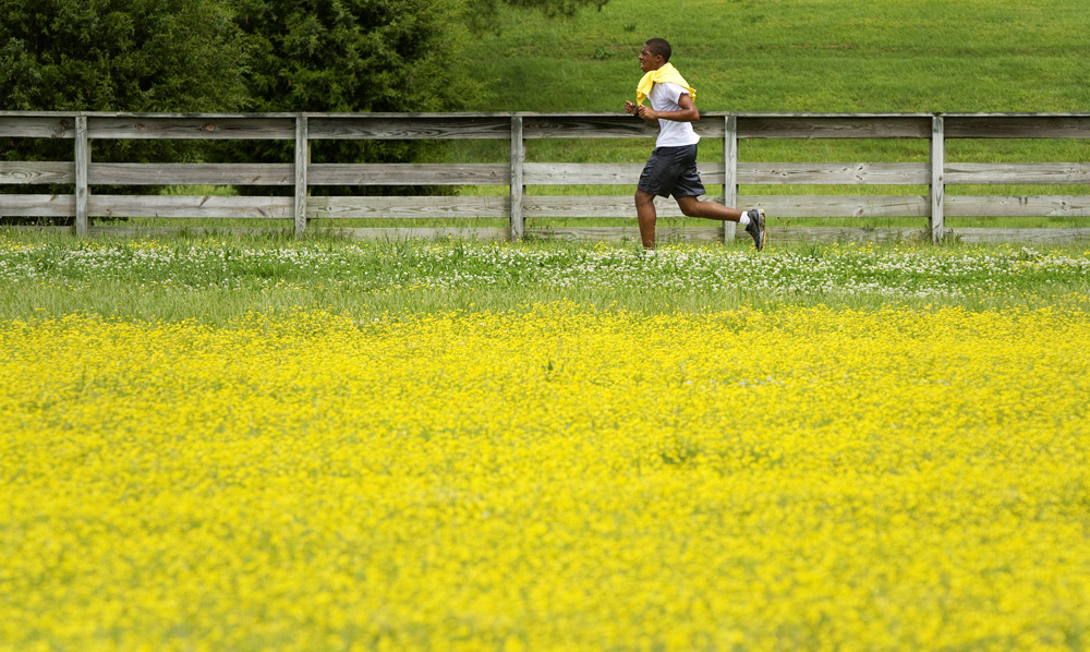 5/20/13 -- A runner takes advantage of some brief sunlight in between rain showers on Monday at Riverview Farm Park.