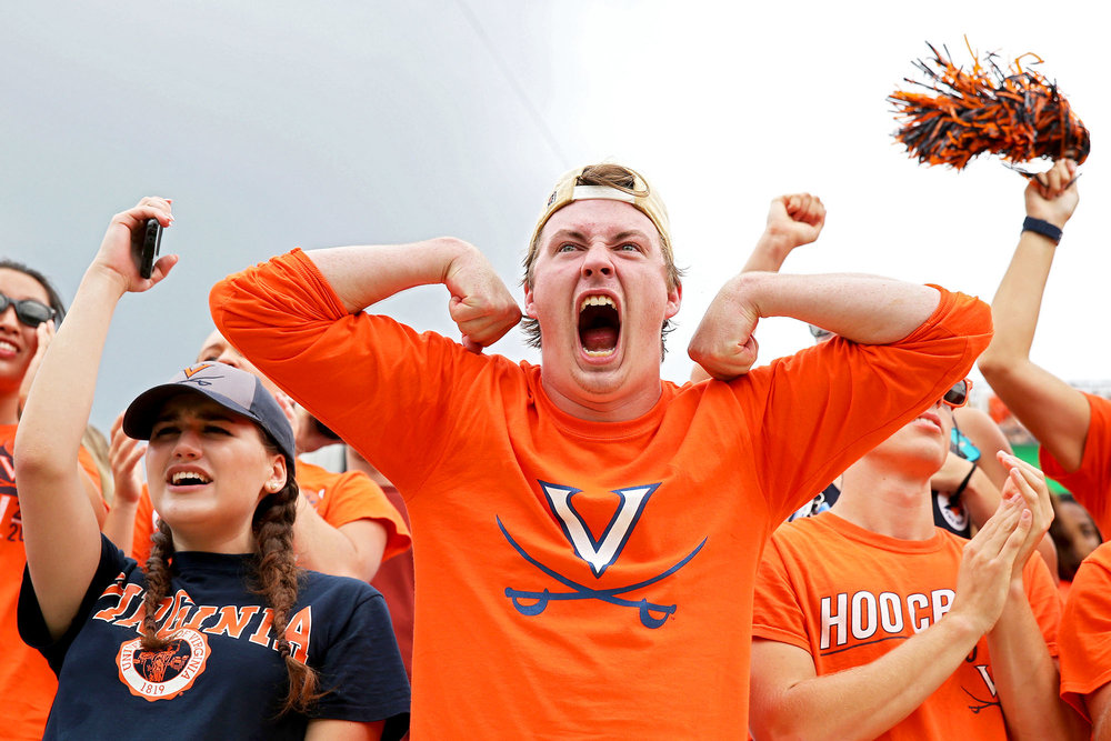 Fans of the Virginia Cavaliers cheer during a game against the Connecticut Huskies at Scott Stadium on September 16, 2017 in Charlottesville, Virginia.
