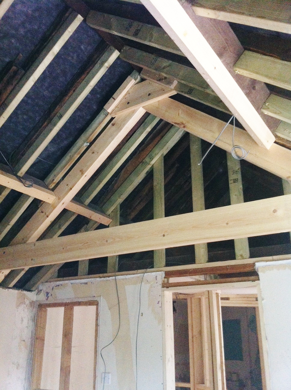 New exposed truss to main bedroom...