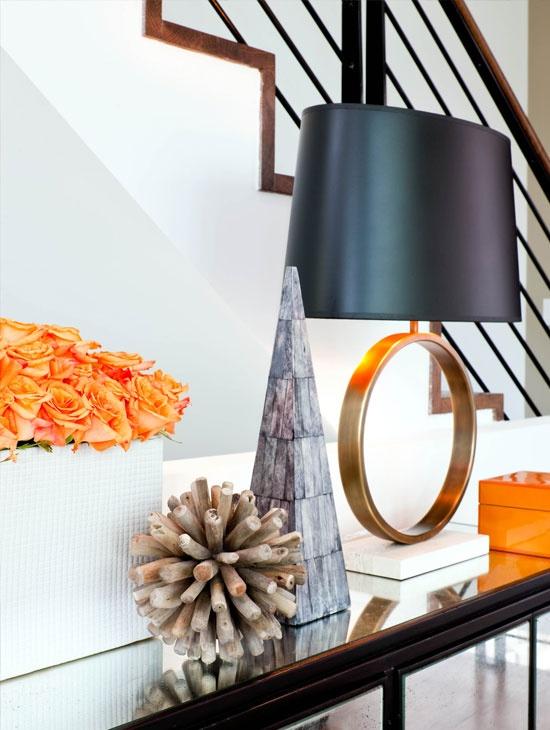 Orange, wood, white & black