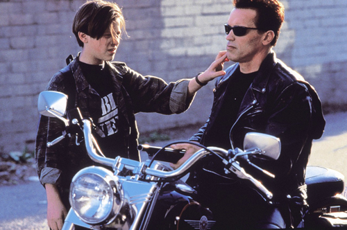 Edward Furlong and Arnold Schwarzenegger get close in 1991's Terminator 2: Judgment Day.