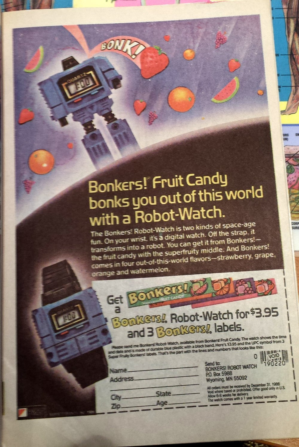 BONK! This fruit candy was all about dropping comically swollen pieces of fruit on your head. And robot watches.