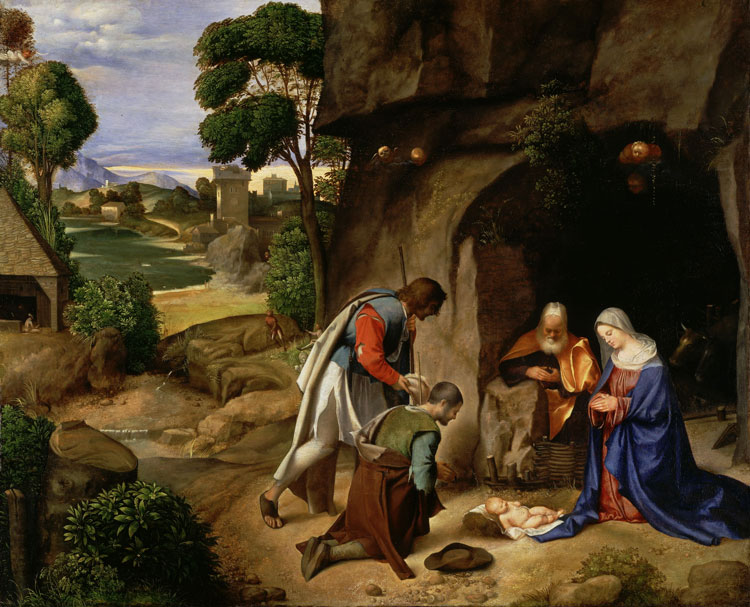 The Adoration of the Shepherds,   now attributed to the Renaissance master   Giorgione  , hangs in the National Gallery of Art.