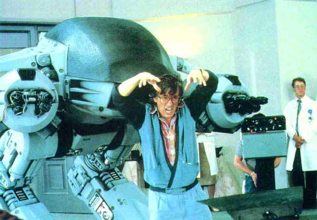 Director Paul Verhoeven gives ED-209 his motivation. 1986. (RoboCop Archive)