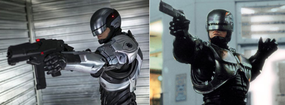 RoboCop '14 & RoboCop '87. The original has more gestural flair, and so does the movie he's in.