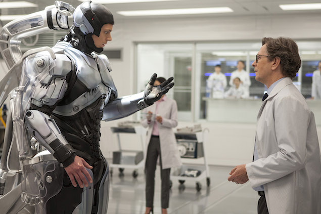 Joel Kinnaman and Gary Oldman in  RoboCop.
