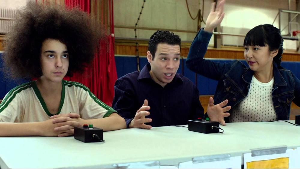 Alex Wolff, Robin De Jesus, and Greta Lee in Hairbrained.