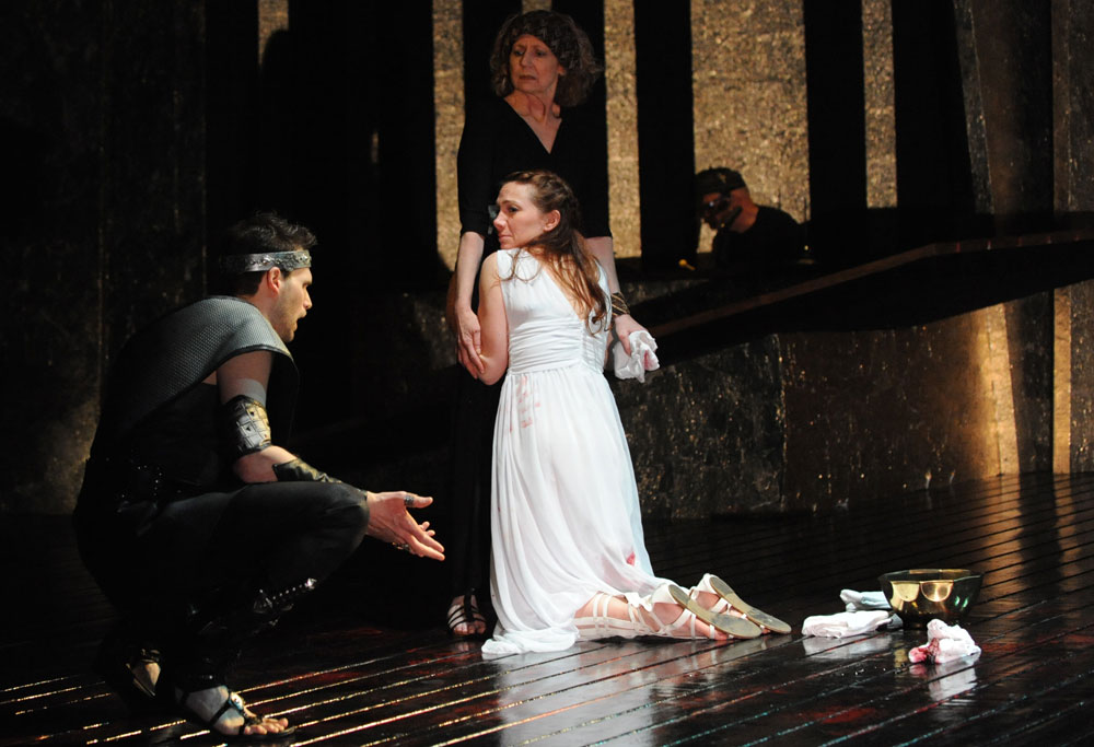 Matthew Schleigh, Megan Dominy,  and  Rena Cherry Brown in   The Love of the Nightingale.   (Stan Barouh)