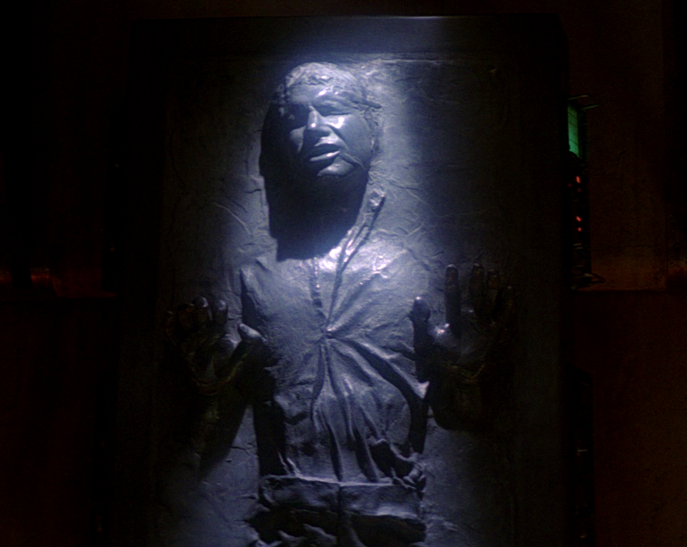 Not like this. Not like this. But somehow. Han Solo-as-conversation-piece, from 1983's  Return of the Jedi.