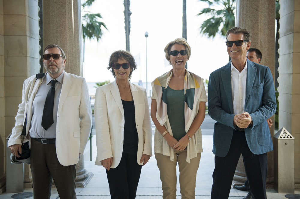 Timothy Spall, Celia Imrie, Emma Thompson, & Pierce Brosnan walk in slow motion in The Love Punch. (Etienne George)