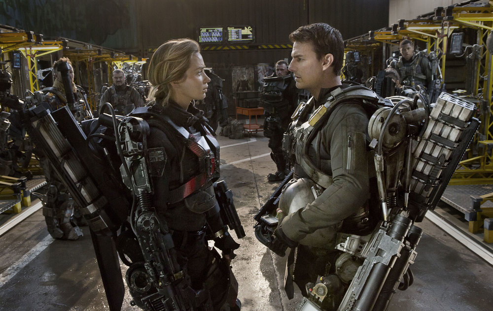 Emily Blunt & Tom Cruise in  Edge of Tomorrow.  One of the sharpest summer blockbusters in years didn't open.