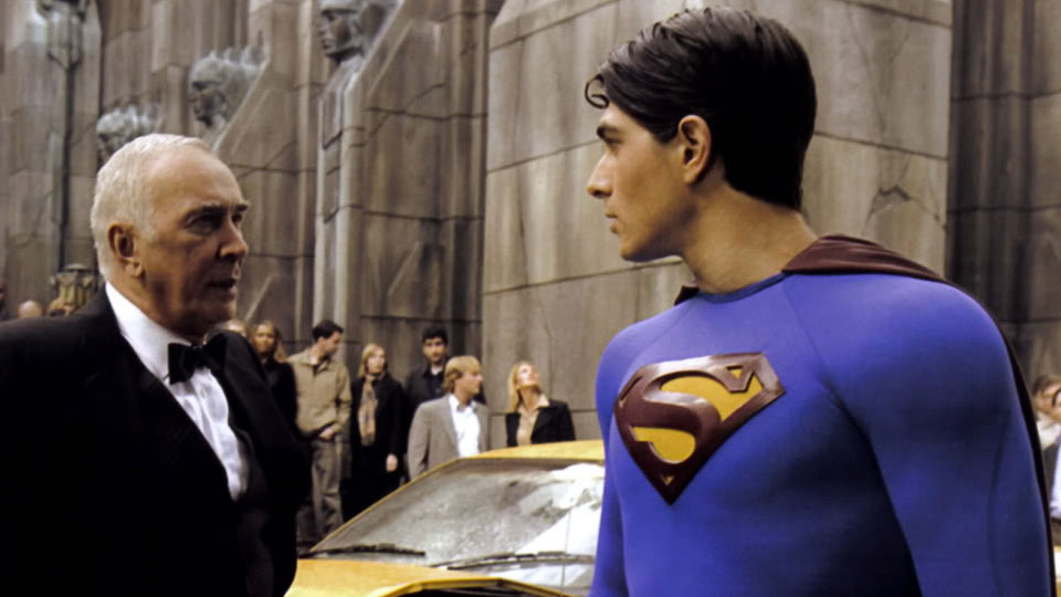 Frank Langella and Brandon Routh in Bryan Singer's too-gentle, too-emo  Superman Returns.
