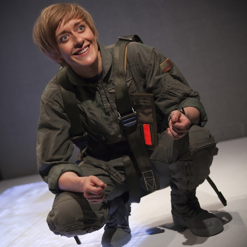 Lucy Ellinson in the Gate Theatre production of George Brant's Grounded.