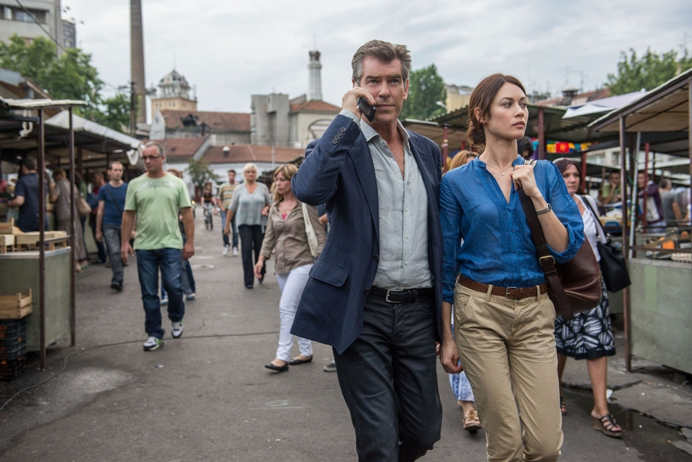 Ex-Bond Pierce Brosnan and ex-Bond Girl Olga Kurylenko in The November Man.