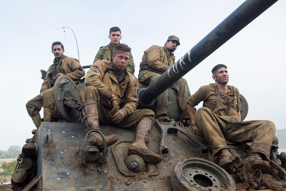 Shia LaBeouf, Logan Lerman, Brad Pitt, Michael Pena, and Jon Bernthal as the crew of  FURY,  an M4 Sherman tank.