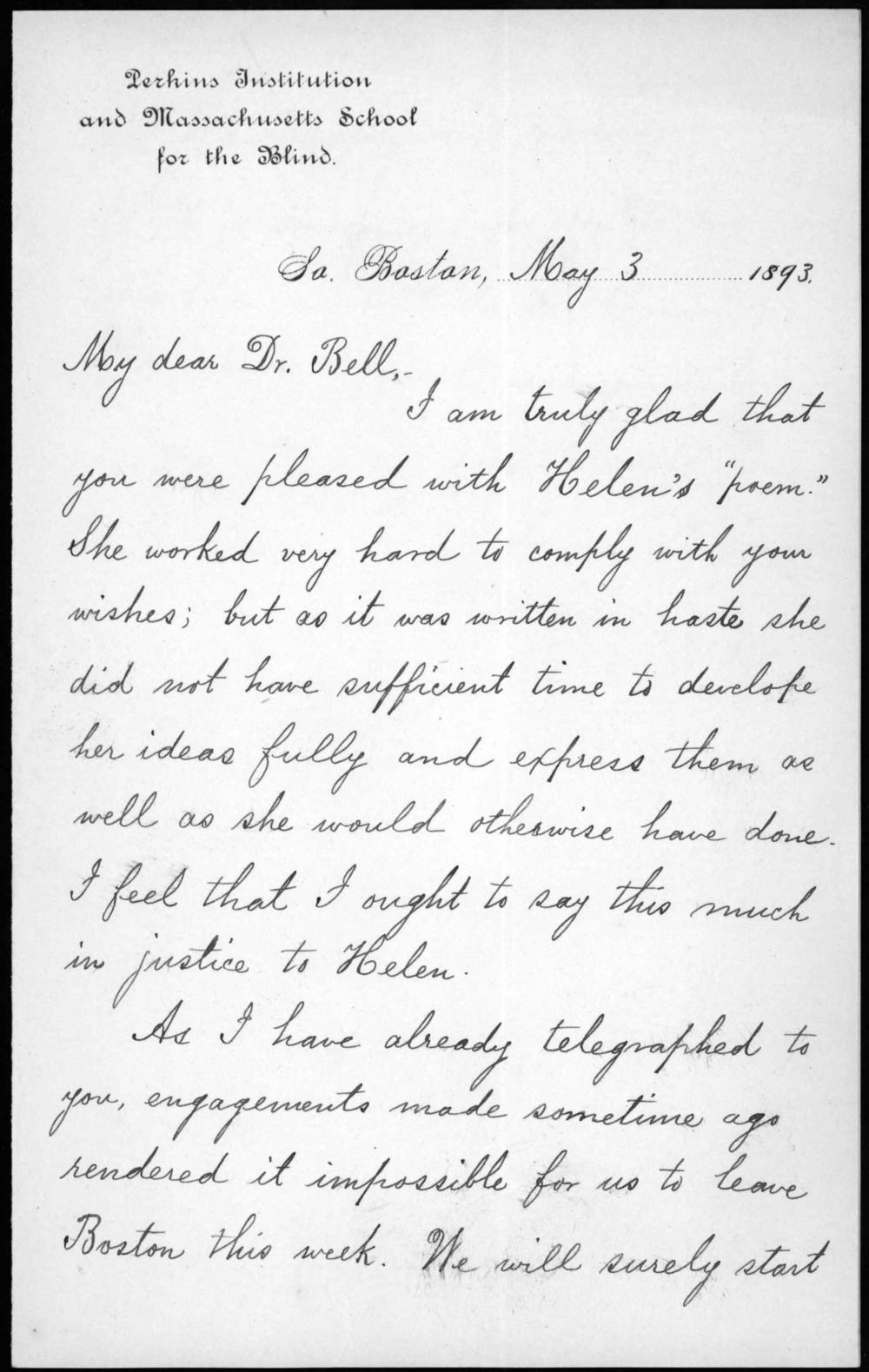 Letter from Anne Sullivan to Alexander Graham Bell, May 3, 1893