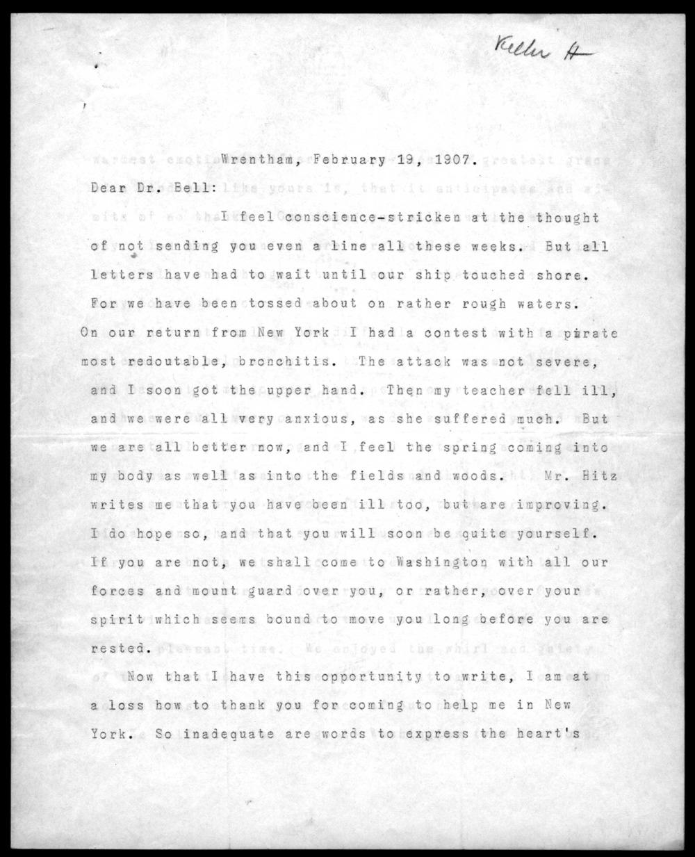 Helen Keller writes to Alexander Graham Bell, 1907.