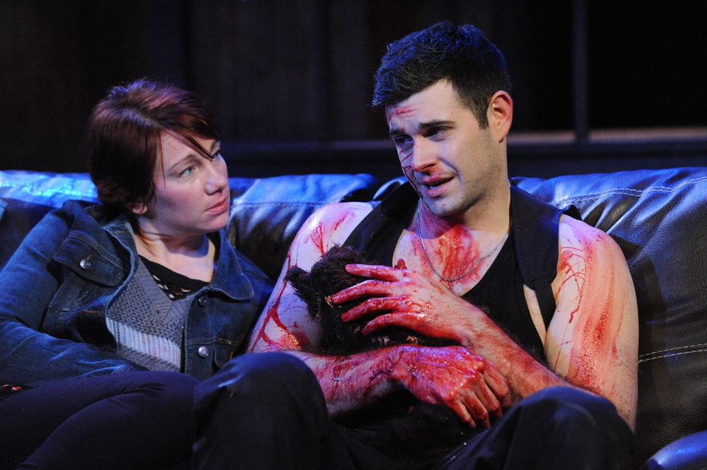 Megan Dominy and Thomas Keegan get bloody (Constellation Theatre Co.)