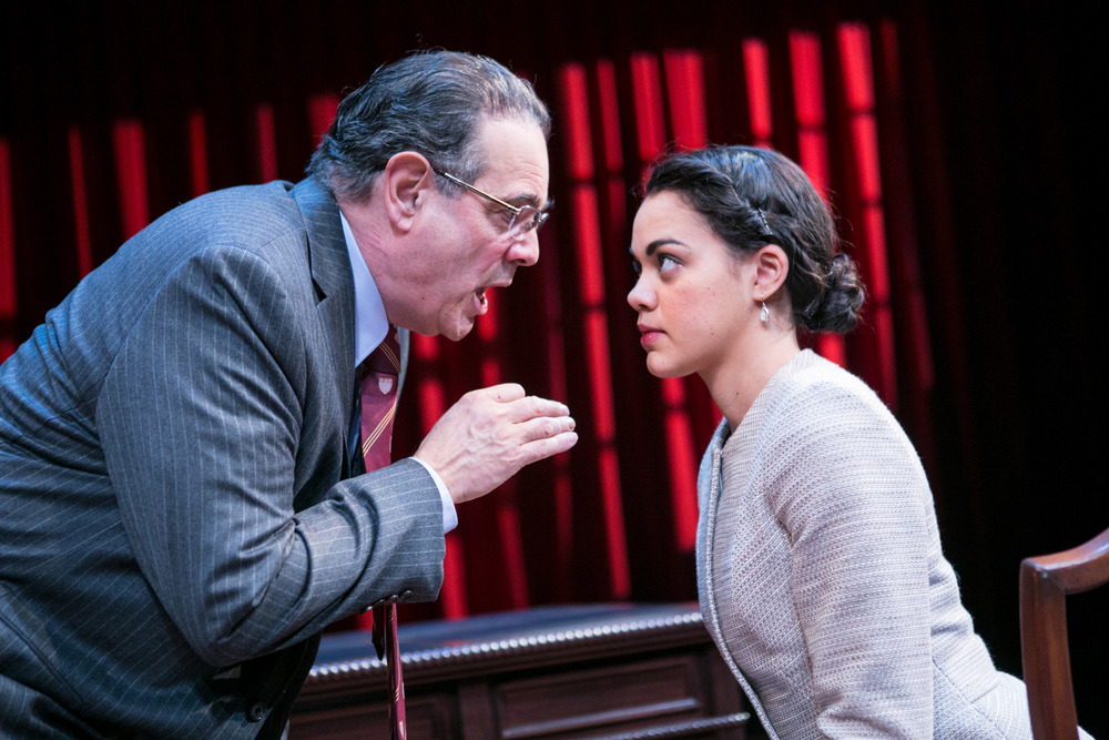 Edward Gero as Antonin Scalia and Kerry Warren as Cat in  The Originalist.  (C. Stanley Photography/Arena Stage)
