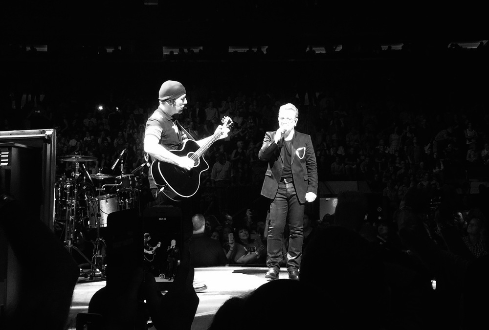 "The Edge and Bono play ""Satellite of Love"" at MSG, July 30, 2015."