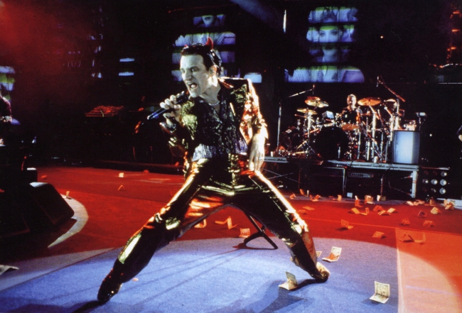 "Bono performing as ""Mr MacPhisto"" on U2's 1993 European stadium tour."