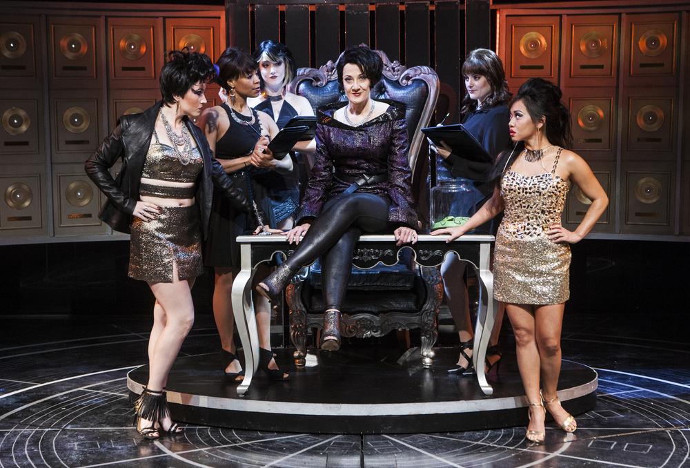 Donna Migliaccio with Jamie Eacker, Kellee Knighten Hough, Nora Palka, Bayla Whitten and Diana Huey in  Girlstar  at Signature Theatre. (Christopher Mueller)