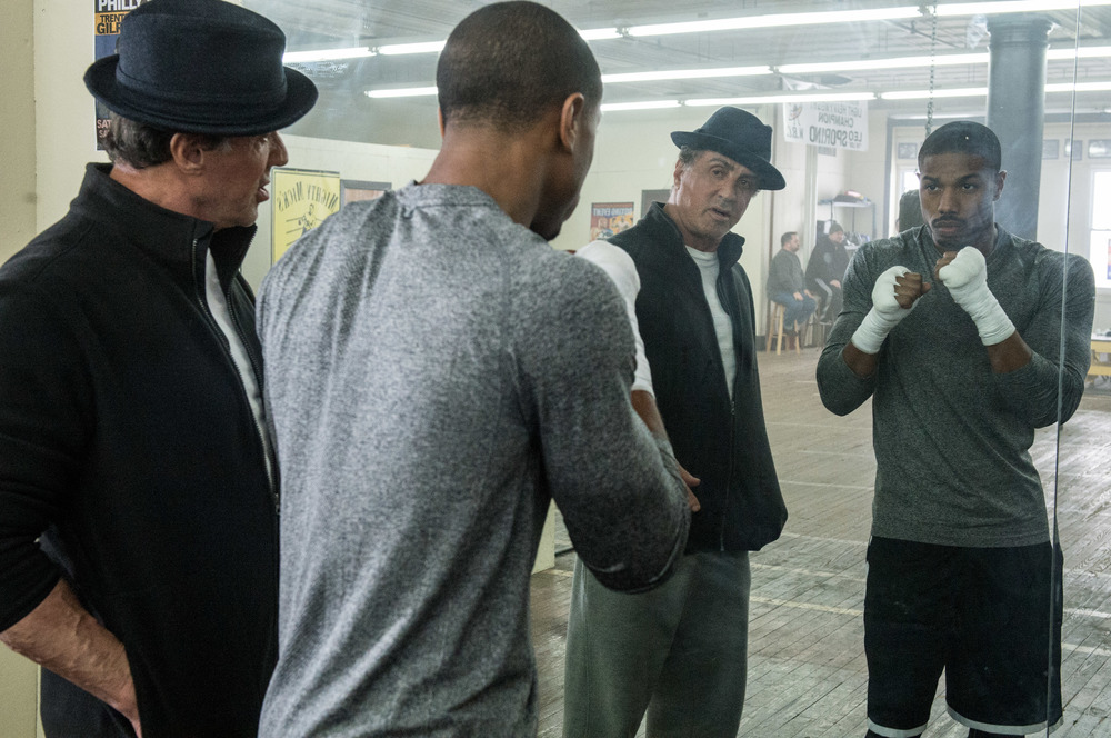 Sylvester Stallone and Michael B. Jordan. (Barry Wetcher)