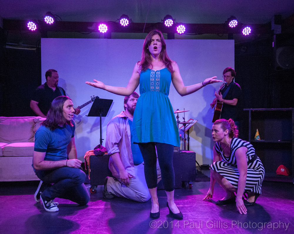 "Vaughn Irving, Doug Wilder, Farrell Parker, and Suzanne Edgar perform their musical ""You, or Whatever I Can Get"" in the 2014 Capital Fringe Festival. 2015 Aniello Award winner Flying V will remount the show starting next week. (Paul Gillis)"