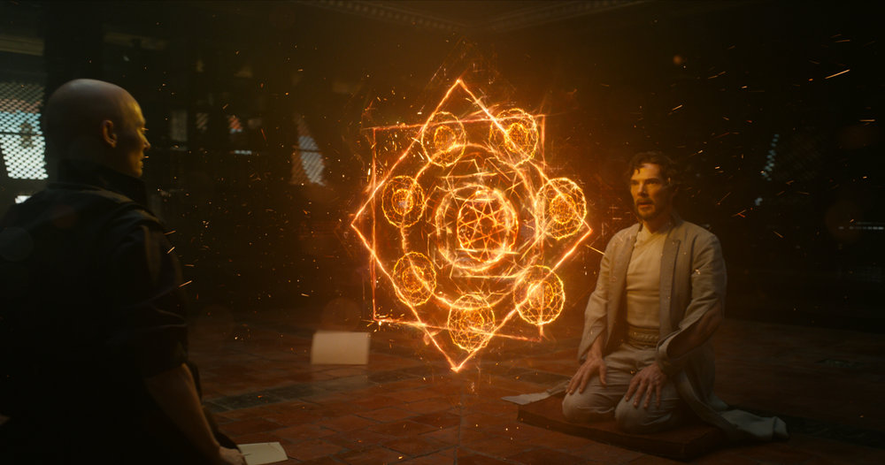 Tilda Swinton and Benedict Cumberbatch in  Dr. Strange  (Marvel).