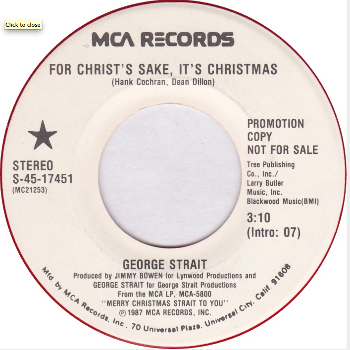 George Strait - For Christ's Sake It's Christmas.png