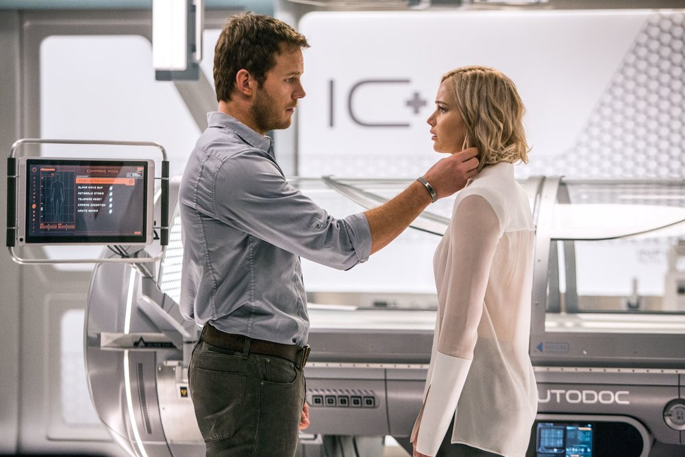 Chris Pratt and Jennifer Lawrence in Passengers, a miscast and misbegotten fairy tale in space.