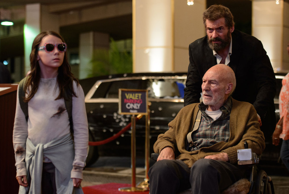 The family that hides together, abides together. Dafne Keen, Patrick Stewart, and Hugh Jackman in  Logan . (Fox)