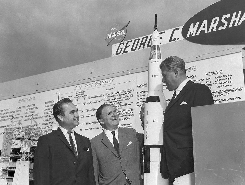 Alabama Governor George Wallace, NASA administrator James L. Webb, and Wernher von Braun at Marshall Space Flight Center in Huntsville, AL circa 1965.