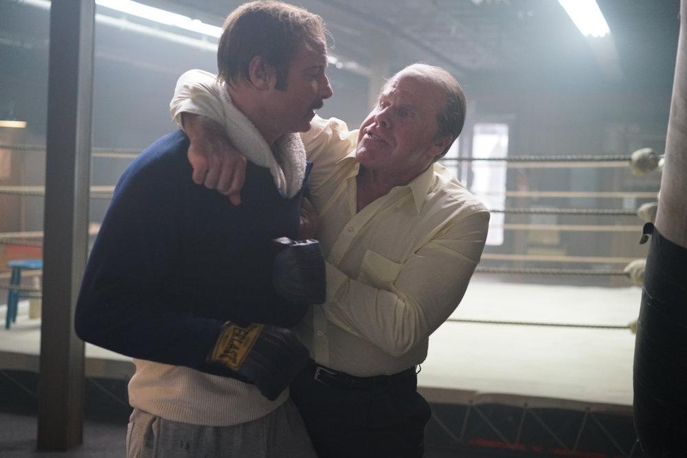 Liev Schreiber and Ron Perlman in Philippe Falardeau's Chuck Wepner biopic. (Sarah Shatz/IFC)