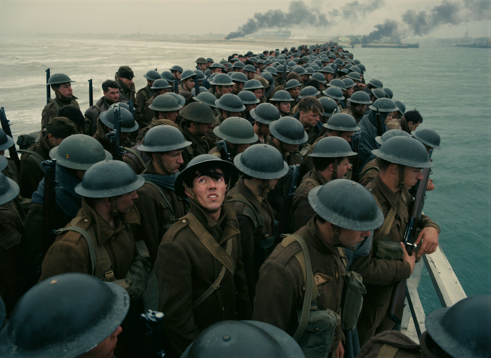 400,000 stranded British soldiers await rescue on the frigid beach at Dunkirk. (Warner Bros.)