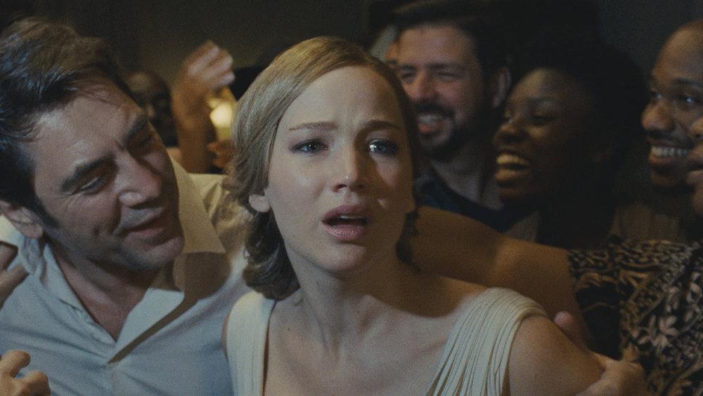 Javier Bardem, Jennifer Lawrence and the chorus. (Paramount)