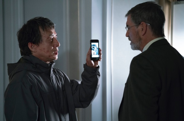 """""""Let's just watch this movie on my phone."""" It's Chan v Brosnan in  The Foreigner. (STX)"""