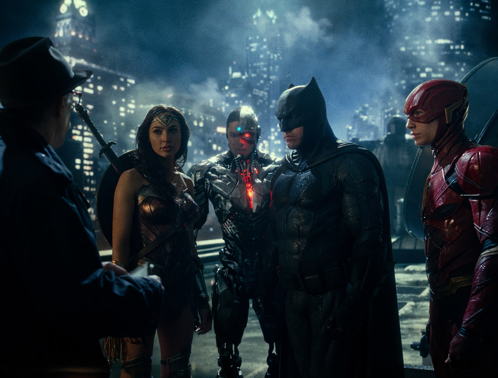 How Green Was My Screen: JK Simmons, Gal Gadot, Ray Fisher, Ben Affleck, and Ezra Miller (Warner Bros.).