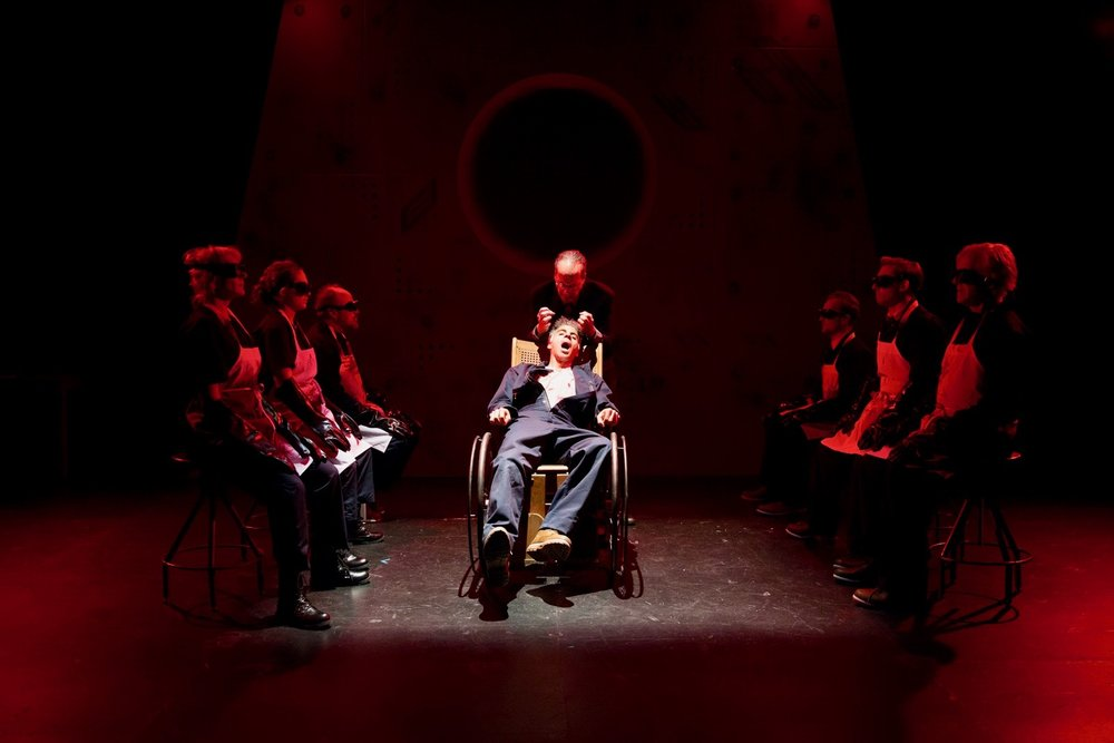 Oscar Ceville (seated) and Ron Litman as Winston Smith and O'Brien. (Jae Yi Photography)