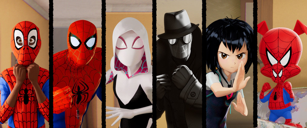 Miles Morales, Peter Parker, Gwen Stacy, Spider-Man Noir, Peni Parker, and Peter Porker. (Sony)