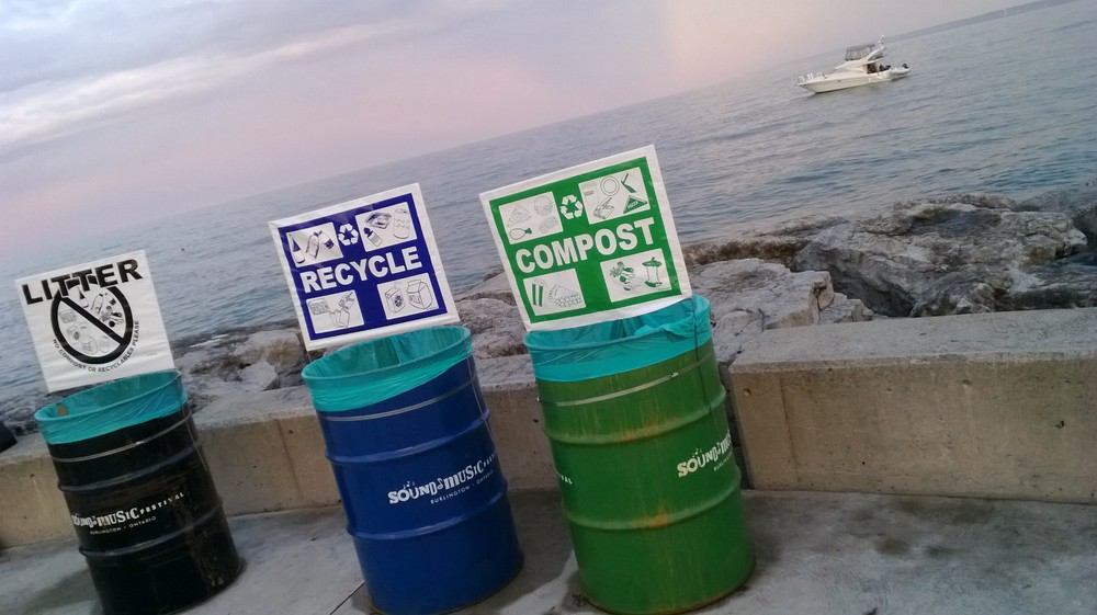 Litter, Recycling, and Composting Stations at Burlington's Sound of Music Festival. By: Tomasz Wiercioch