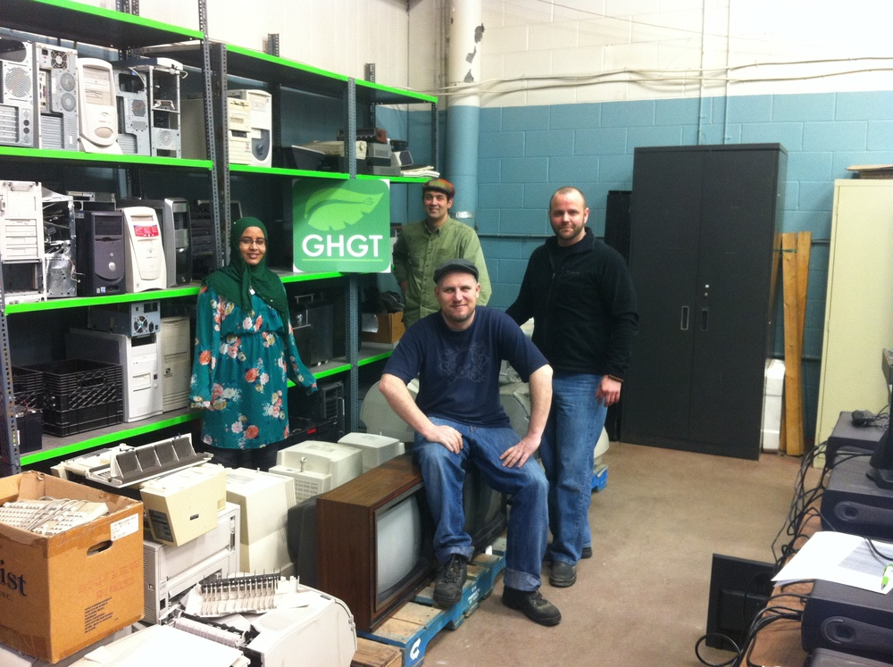 Part of GHGT's diverse team at their e-waste processing warehouse | From left moving clockwise: Saneem, Peter, Stuart and Greg