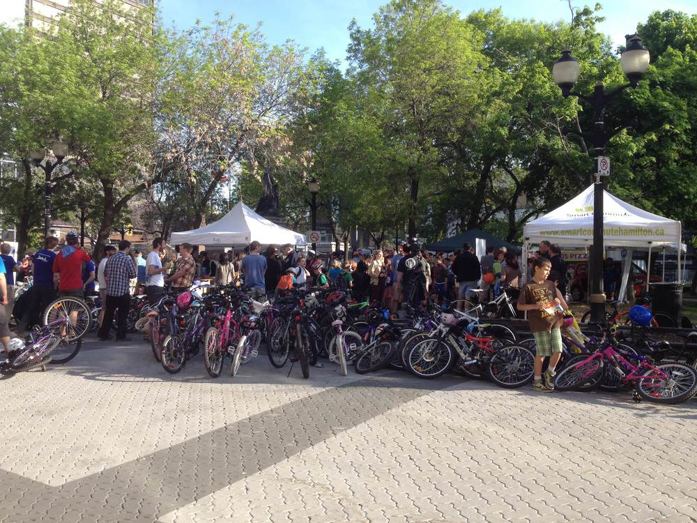 Crowds gather at Hamilton Bike to Work Day for a celebration of active transportation | Photo by Steve Watts