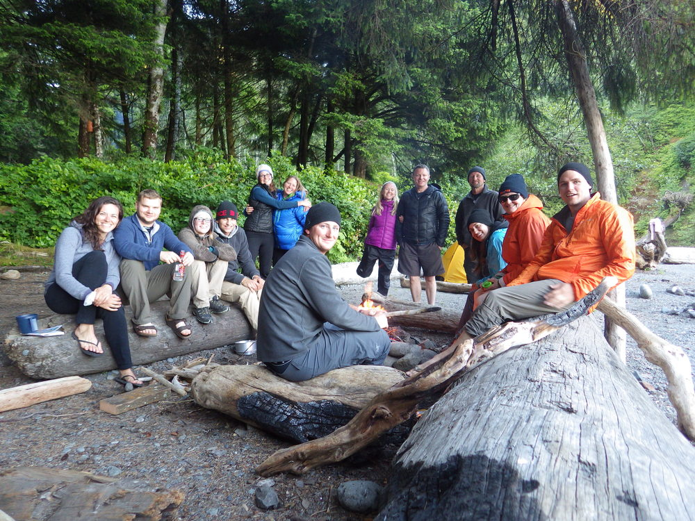 Our wonderful group of travelers sharing our first campfire together.