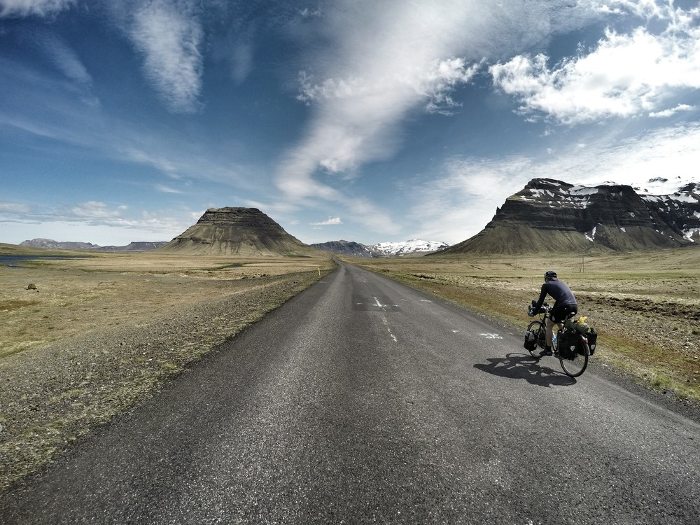 Cycling into Grundarfjordur in northeast Iceland.