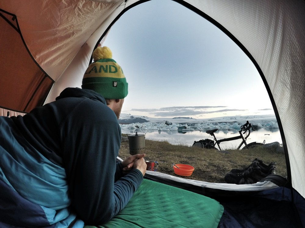 Jokulsarlon, Iceland. My favorite camp spot in the country. We spent $0 for accommodation the entire time while cycling.