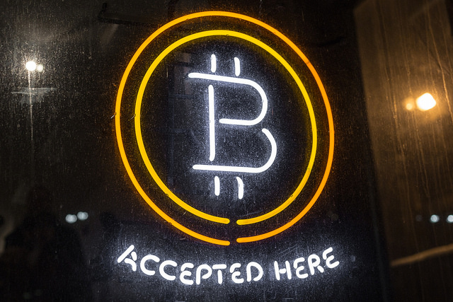 Bitcoin, currency of sustainable futures, accepted here.  Image via  flickr